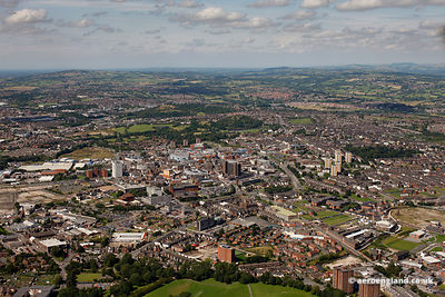 aerial photograph of Stoke on Trent Staffordshire