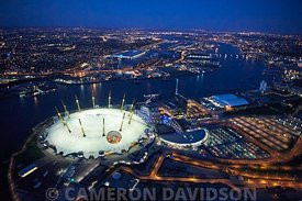 Aerial of the O2 theater in London