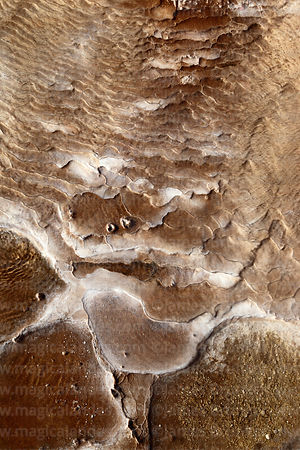 Detail of mineral deposits near geyser at El Tatio, Region II, Chile