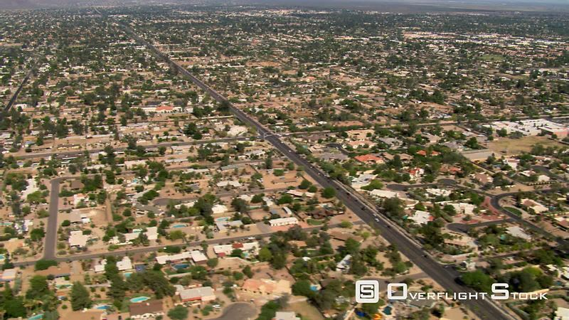 Wide aerial view of Scottsdale, Arizona.