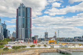 SYDNEY, AUSTRALIA - OCTOBER 11, 2016:  Commercial property development at Barrangaroo Avenue close to Darling Harbour Wharf.