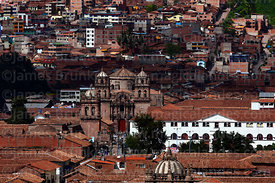 View of historic centre and San Pedro church, Cusco, Peru
