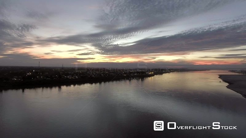 Mekong River at Dusk Capital City Vientiene Laos