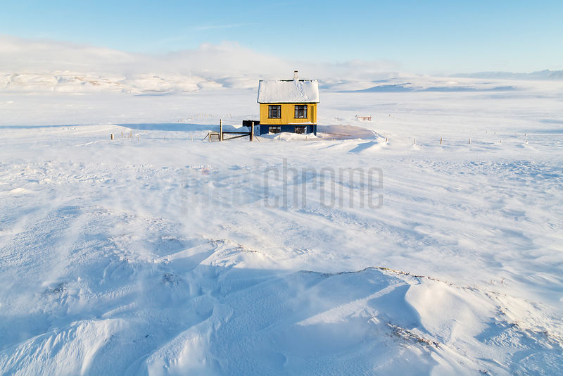 Little Yellow House on the Icelandic Tundra