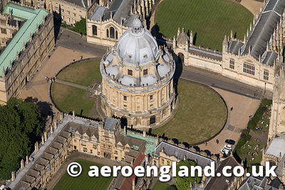 aerial photograph of the Radcliffe Observatory in Oxford  England  UK