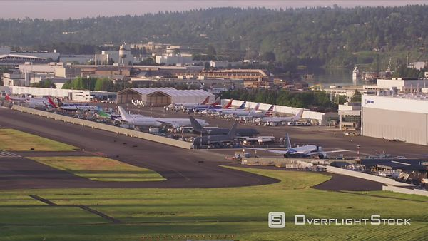 Seattle, Washington Aerial view of Boeing Field.  Shot with Cineflex and RED EpicW Helium.
