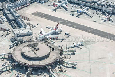 Aerial view of planes at Gatwick Airport