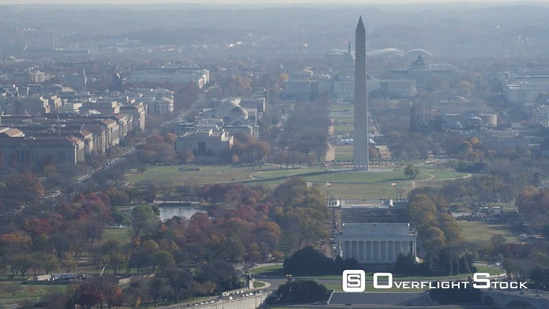 Lincoln Memorial, Washington Monument, and Capitol on the National Mall. Shot in November