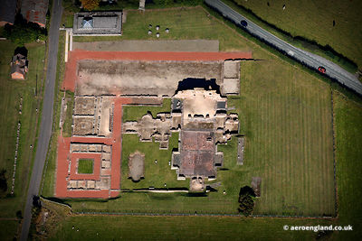 aerial photograph of Wroxeter Roman City in  Shropshire England UK.