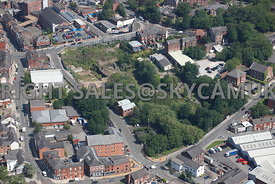 Stockport aerial photograph of old industrial land bounded by Waterloo road in the south and Hopes Carr and Wellington Street in the north