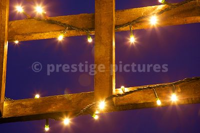Christmas Fairy Lights Wrapped Around Wooden Trellis