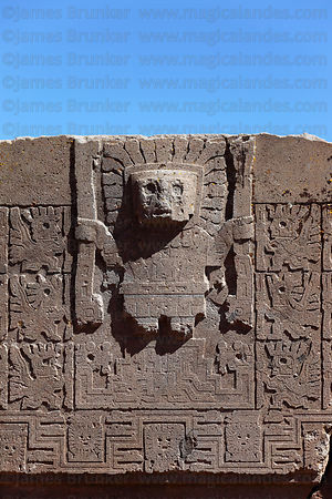 Detail of Viracocha / Wiracocha figure in form of Sun God showing rays around head, Sun Gate / Puerta del Sol, Tiwanaku , Bolivia