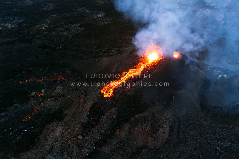 Aerial View of Eruption cratere (Reunion Island)