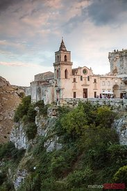 San Pietro caveoso church at sunset, Sassi di Matera, Italy