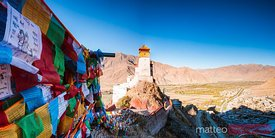 Tibetan prayer flags at Yungbulakang Palace, Tibet