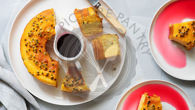 Yoghurt and passionfruit cake.