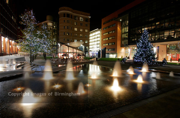 The Square at Brindleyplace, Birmingham, UK at Christmas
