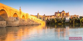 Panoramic of the roman bridge of Cordoba, Andalusia, Spain