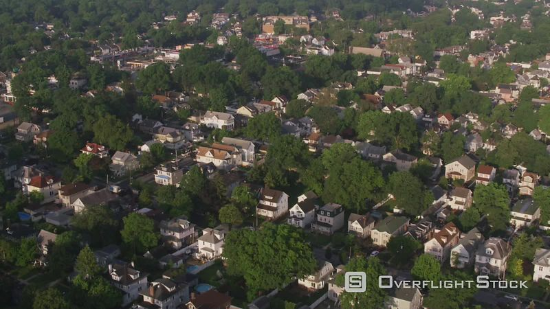 New Jersey Aerial view of neighborhood near Elizabeth New Jersey.   Shot with Cineflex and RED EpicW Helium.