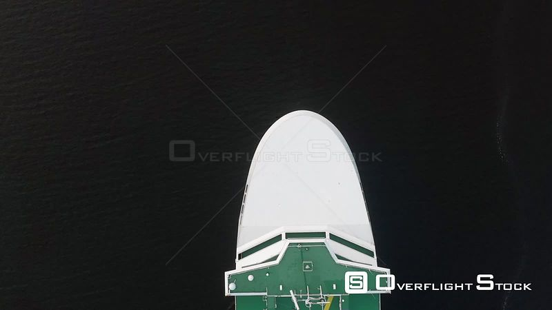 Top Down View of Commercial Ship Underway