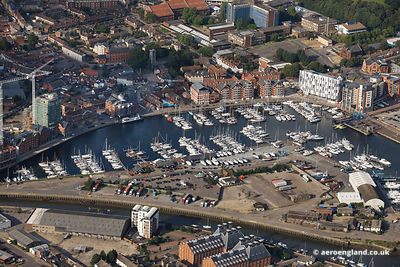 aerial photograph of Neptune Marina.Neptune Quay Ipswich, Suffolk IP4 1QJ.UK