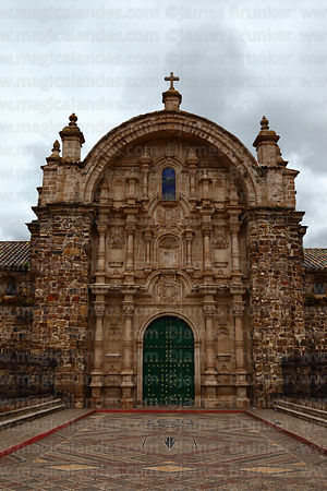 Main entrance facade of church of Santiago the Apostle / Immaculate Conception, Lampa, Peru