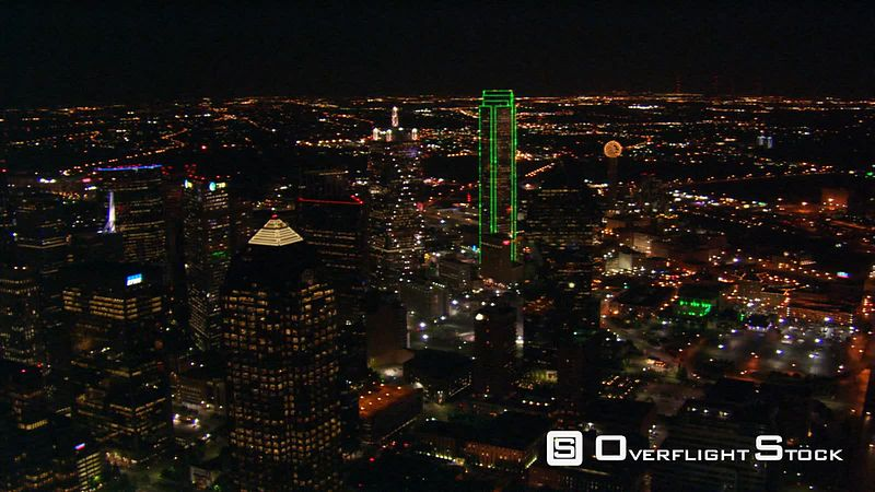 Night flight over downtown Dallas, Texas