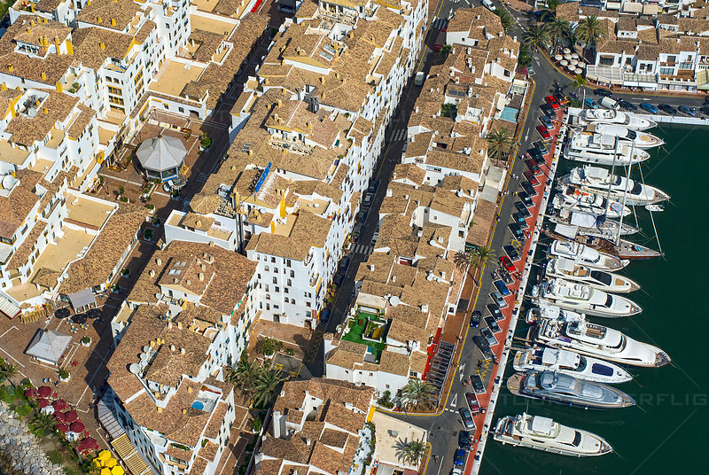 Aerial view of yachts in marina, Puerto Banus, Spain