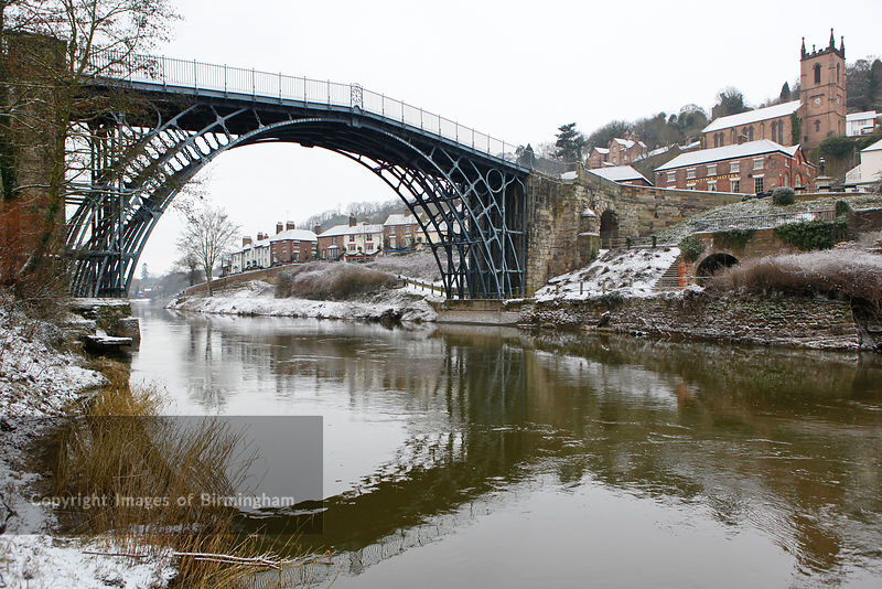 The Ironbridge in Ironbridge, Telford, Shropshire in snow during Winter.