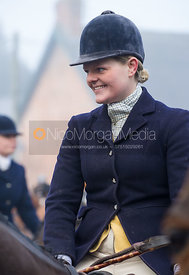 Kelly Morgan at the meet - The Cottesmore Hunt at the Blue Ball 11/12