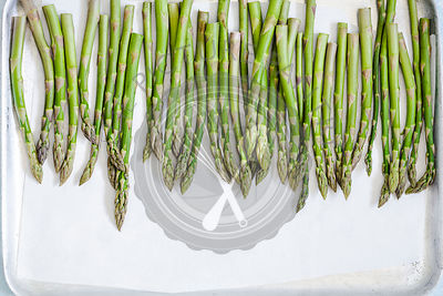 Asparagus on a baking tray