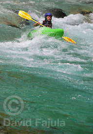 Kayaking on the Soča river (last rapids section)