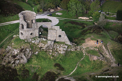 aerial photograph of Mow Cop Castle Staffordshire England UK