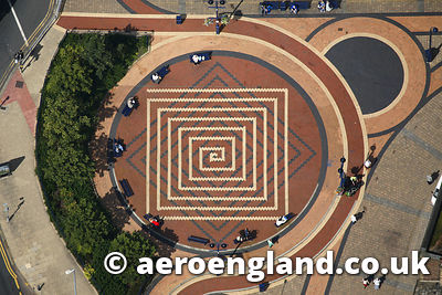 aerial photograph of paved piazza in Huddersfield Yorkshire England UK