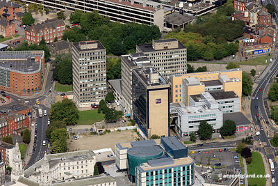 aerial photograph of Leeds Beckett University (formerly Leeds Metropolitan University and Leeds Polytechnic)
