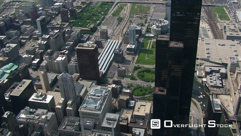 Flight passing Sears Tower in Chicago.