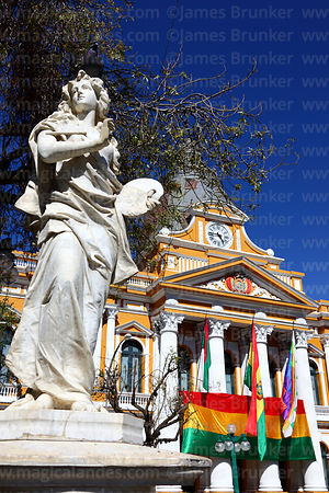 Congress building and statue representing painting, Plaza Murillo, La Paz, Bolivia