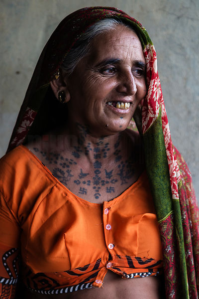 Portrait of a Rabari Woman with Tattooing on her Neck