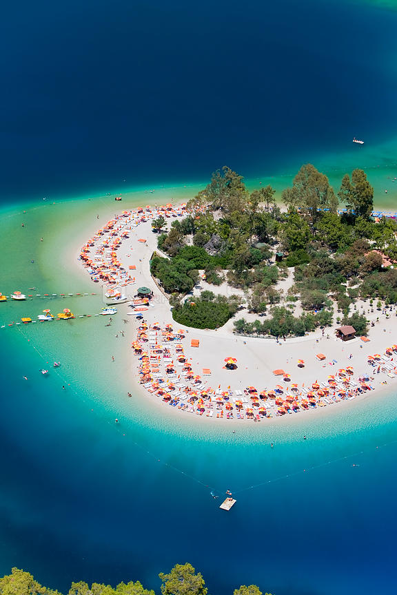 Aerial view of the famous Blue Lagoon and Belcekiz beach along the 'Turquoise' coast, Oludeniz near Fethiye, Mediterrean Coast, Turkey 2008