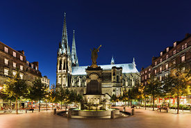 Place de la Victoire and cathedral in the twilight, Clermont Ferrand