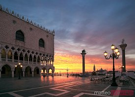 Doges palace at sunrise Venice Italy
