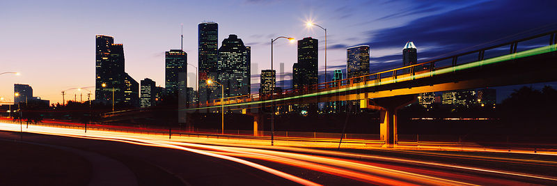Houston Skyline and Headlight Trails