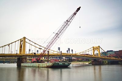 River Barge Crane At Clemente Bridge