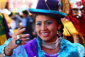 Portrait of cholita dancing the morenada at Gran Poder festival, La Paz, Bolivia