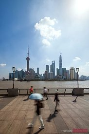 People walking on the Bund, Shanghai, China