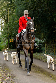 Andrew Osborne leaving the Cottesmore Hunt meet at Little Dalby Hall