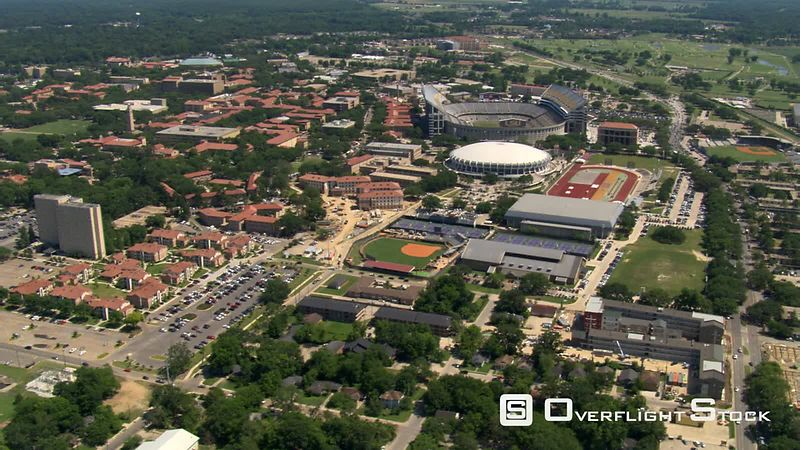 Orbiting LSU campus and Tiger Stadium in Baton Rouge, Louisiana.
