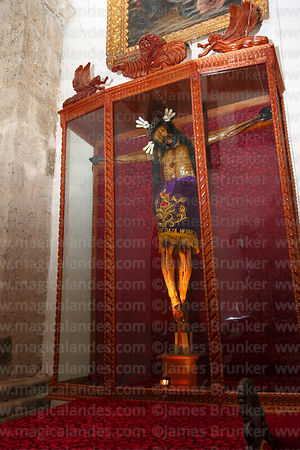 Crucified Christ made of cow leather with movable arms inside church of Santiago the Apostle / Immaculate Conception, Lampa, Peru