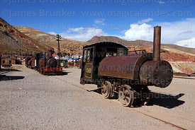 0-4-0 saddle tank steam engine at Pulacayo, Potosi Department, Bolivia