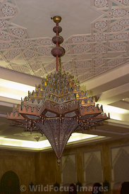 Very large lamp inside the Hassan II Mosque, Casablanca, Morocco; Portrait